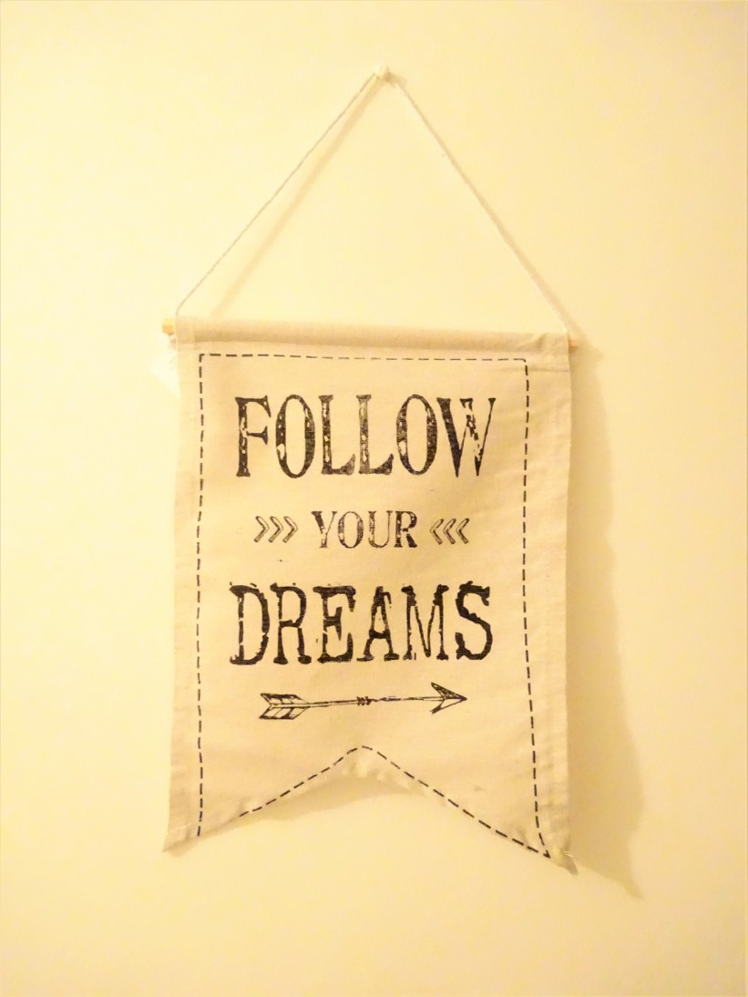 Follow Your Dreams Hanging Cotton Sign