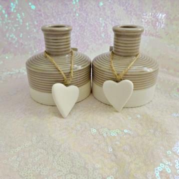 Vase, Grey, White Heart